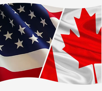 Harmonized American and Canadian Flag